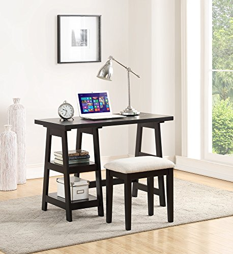 Wooden Writing Desk With 2 Side Shelves And Stool Black by Poundex