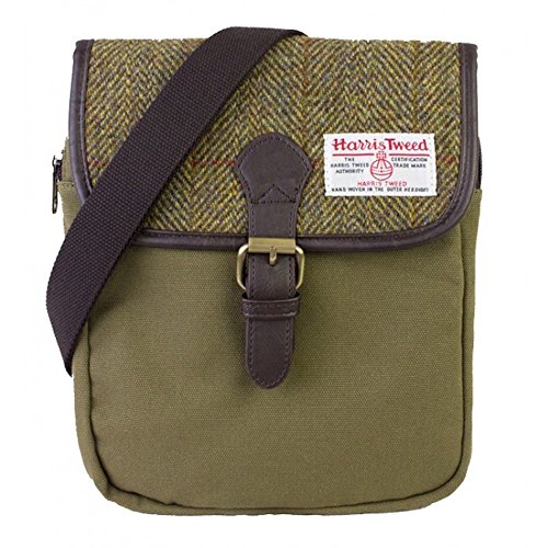 Ladies or Gents Traditional Green Harris Tweed and Canvas Small Crossover Messenger Bag