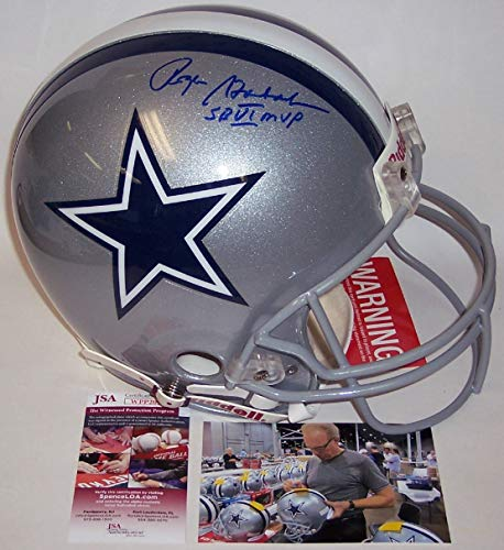 (Roger Staubach Autographed Hand Signed Dallas Cowboys Full Size Authentic Football Helmet - with SB VI MVP Inscription -)