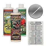 Fox Farm Liquid Nutrient Trio Soil Formula: Big Bloom, Grow Big, Tiger Bloom (Pack of 3 - 16 oz. bottles) 1 Pint Each + Twin Canaries Chart & Pipette