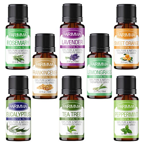 Body Set Basics Cool (Farimma Aromatherapy Top 8 Essential Oils Gift Set, 100% Pure & Therapeutic Grade Plant Oils - 10 ml Each (Lavender, Eucalyptus, Rosemary, Lemongrass, Peppermint, Orange, Tea Tree and Frankincense))
