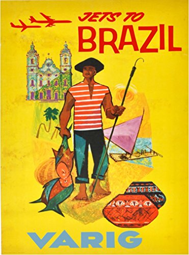 A SLICE IN TIME Jets to Brazil Varig South America Vintage Airline Airlines Travel Advertisement Art Poster Print. Measures 10 x 13.5 inches
