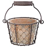 Esschert Design AT09 Aged Terracotta Single Pot with Metal Basket and Handle