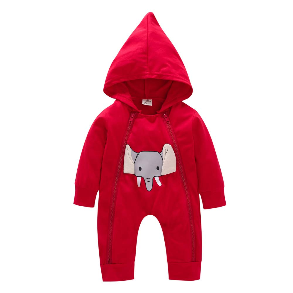 H.eternal Jumpsuit Hooded Romper Cartoon Elephant Double Zipper Baby Outfits Long Sleeve Romper Footless SleepsuitsPajama Clothes