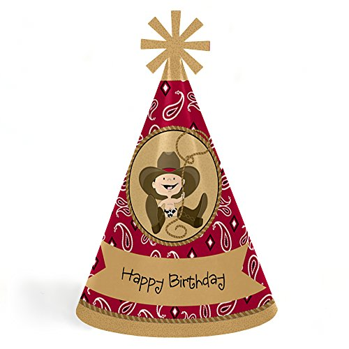 - Little Cowboy - Western Cone Happy Birthday Party Hats for Kids and Adults - Set of 8 (Standard Size)