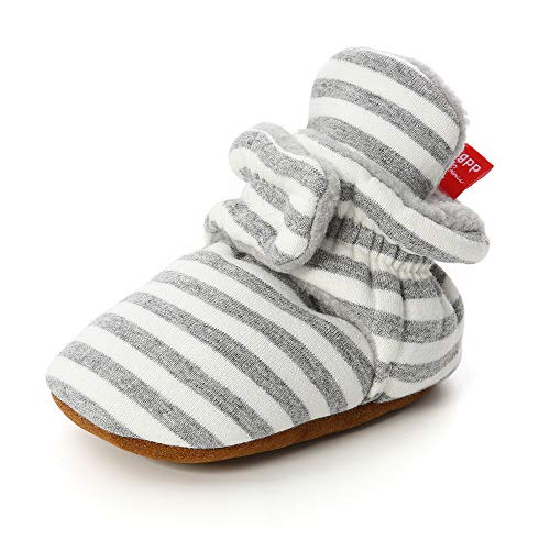 Unisex-Baby Fleece Booties Cozy Baby Bootie Socks Non Skid Gripper Bottom (12-18 Months, Light Gray Stripe)