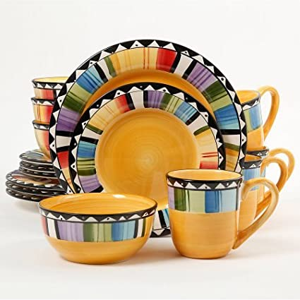 Gibson Home Fandango 16-Piece Dinnerware Set (Yellow Multicolor)  sc 1 st  Amazon.com & Amazon.com | Gibson Home Fandango 16-Piece Dinnerware Set (Yellow ...