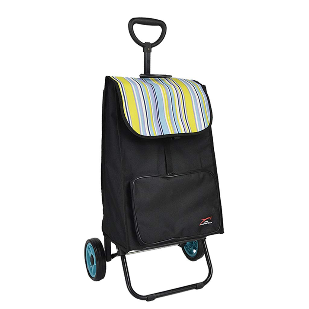 大容量のショッピングカート荷物カートトロリー折り畳みポータブルショッピングカート折りたたみ自転車 (色 : Fresh blue) B07L6GJ12F Fresh blue