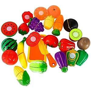 Twister.CK Play Food Set pour Les Enfants, 18 Pcs Play Cutting Food Kitchen Food