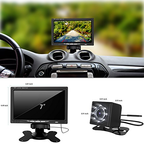 Car Vehicle Backup Camera and Monitor Kit,GOGO ROADLESS Waterproof 7' HD Car Rear View Monitor with IR Night Vision Back Up Camera Parking Assistance System for or Truck / Van / Caravan / Trailers