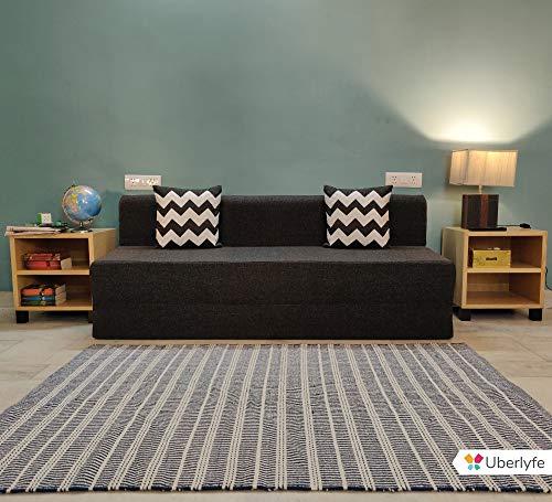 uberlyfe Sofa Cum Bed – 3 Seater, 6'X6′ Feet- with 2 Cushions (Zigzag Pattern) – Jute Fabric   Dark Grey- Perfect for…