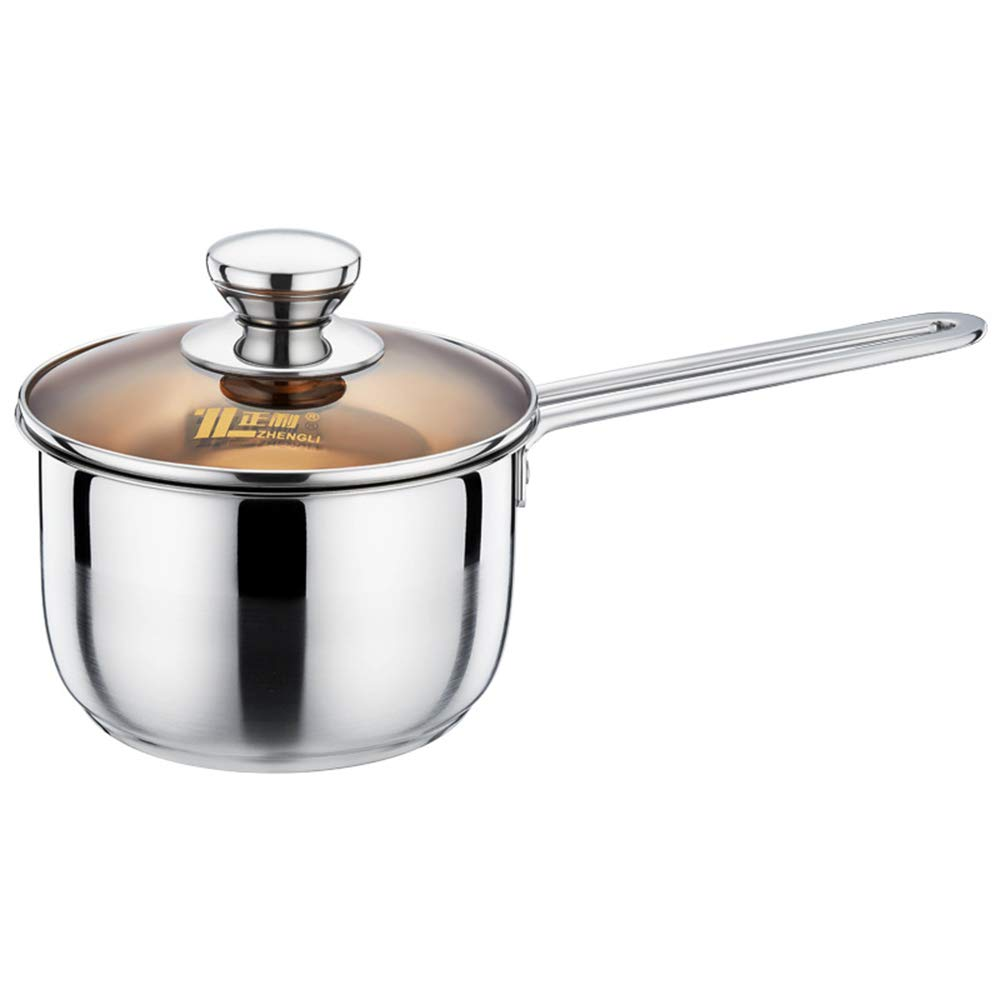 XMM Milk Saucepan Non Stick, Induction-Safe Stainless Steel Milk Pan Three-Layer Steel Composite Uncoated Milk Pot for Induction Cooker Universal (Silver),18cm