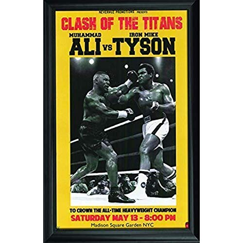 Muhammad Ali & Mike Tyson Wall Art Decor Framed Print | 24x36 Premium (Canvas/Painting Like) Textured Poster | Iconic Boxing Greatest Fan Picture Artwork | Memorabilia Gifts for Guys & Girls Bedroom ()