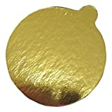 Enjay 4″ Round Gold Mono-Portion Pastry Board with Tab (500 Pieces) For Sale