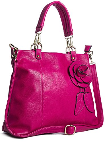 36x28x10 Lady Black Shoulder Pink Black Leaves In Bag Details Leatherette Cm wxhxd With And Bhbs Front Median E7IwqR