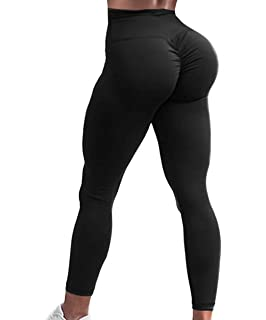 7728755fb519d7 A AGROSTE Women's Yoga Pants High Waist Scrunch Ruched Butt Lifting Workout Leggings  Sport Fitness Gym