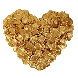 DALAMODA 1000pcs Silk Rose Petals Artificial Flower Wedding Party Aisle Decor Tabl Scatters Confett (Gold) 83
