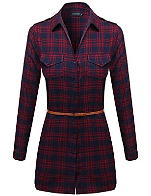 Awesome21 Women's Super Cute Flannel Plaid Checkered Shirt Dress with Belt