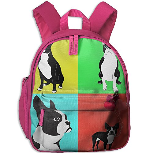Price comparison product image Cute Dogs Boston Terrier With Balloon Children Casual Lightweight Canvas Backpacks School Rucksack Travel Backpack.