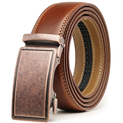 Belt for Men,Leather Ratchet Click Dress Belt With Automatic Slide Buckle Adjustable-35mm Wide (28