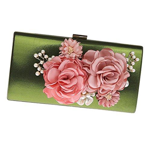 Clutches Bags Evening Wedding Satin Purses Women Flowers Fenteer Black Party Handbags Clutch Green BawqStx