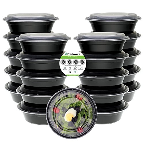 Freshware Meal Prep Containers [21 Pack] Bowls with Lids, Food Storage Bento Box | BPA Free | Stackable | Lunch Boxes, Microwave/Dishwasher/Freezer Safe, Portion Control, 21 day fix (28 oz) (Salad Bowl Black Individual)