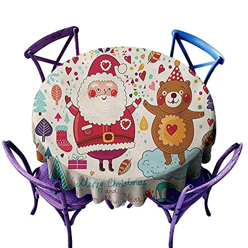 Round Tablecloth,Christmas Santa and Teddy Bear Vintage Christmas Season Ornaments Party Kids Nursery Theme,Party Decorations Table Cover Cloth,35 INCH,Multicolor ()