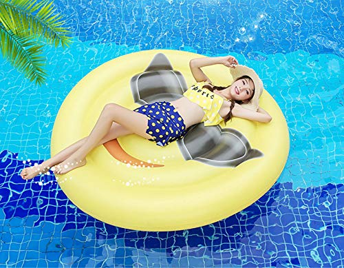 Giant Inflatable Emoji Cool Face Floating Row Adults Kids Summer Beach Toy Swimming Pool Party Lounge Round Raft-Yellow