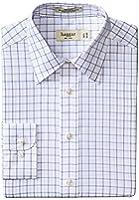 Haggar Men's Large Check Poplin Fancy Long-Sleeve Regular Shirt