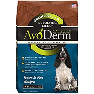 AvoDerm Revolving Menu Grain Free Adult Dry Dog Food, Trout & Pea Recipe, 22-Pound