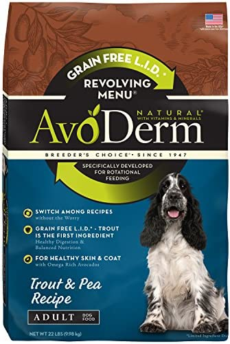 AvoDerm Natural Revolving Menu Dry Dog Food for Rotational Feeding, Food Intolerance and Sensitivities, Trout Pea