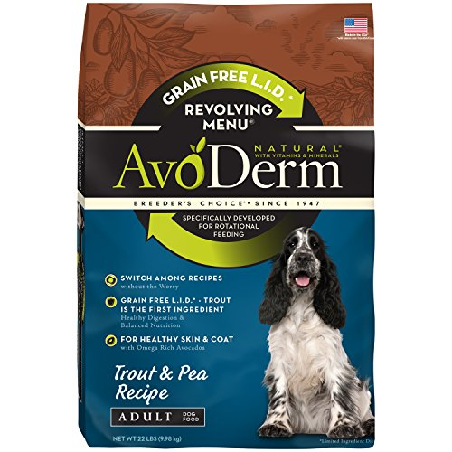 AvoDerm Natural Revolving Trout & Pea Recipe Dry Dog Food, 22-Pound