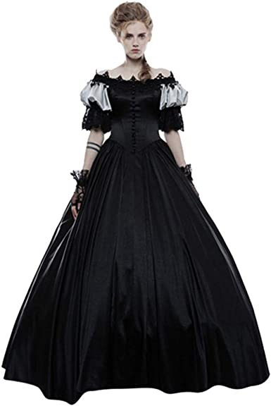 Women Girls Vintage Medieval Long Dress Renaissance Gothic Gown Cosplay Costume