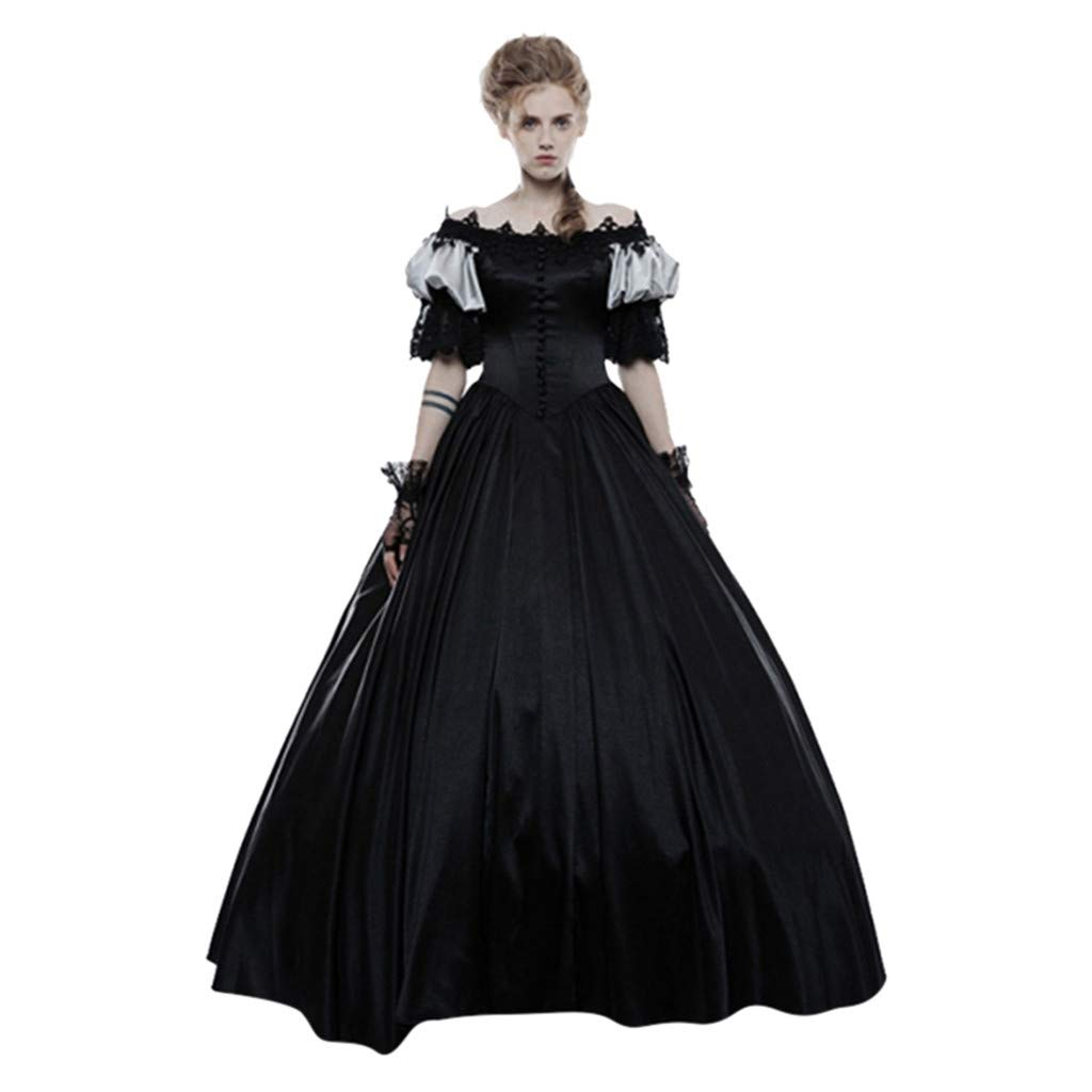 YiYLunneo Womens Medieval Vintage Court Gothic Period Ball Gown Reenactment Theater Costumes Dress Black by YiYLunneo