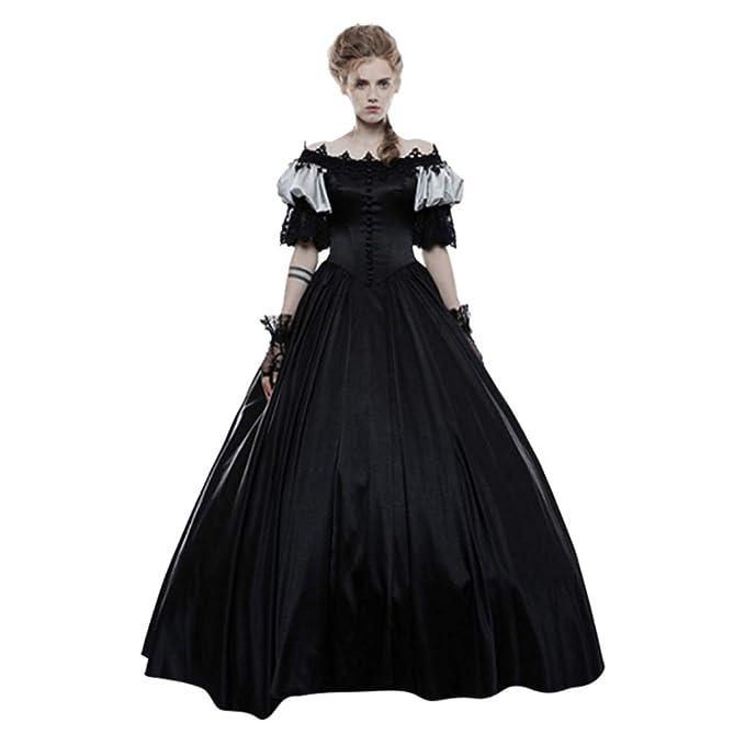 CLOOM Mujer Disfraz de Fuera del Hombro de Medieval,Vestido de ...