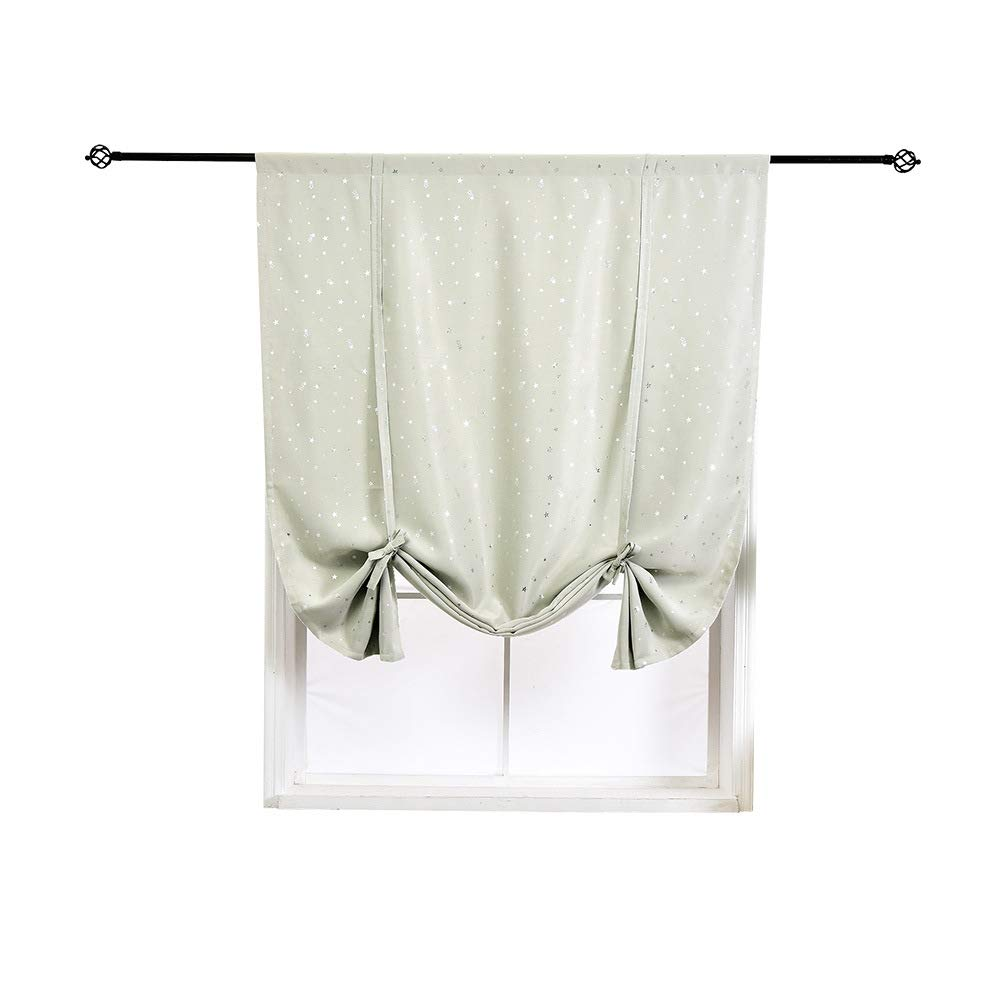 HomeyHo Satr Tie Up Curtains Kitchen Star Tie Up Curtains Small Room Darkening Small Curtains for Girls Bedroom Roman Curtain for Small Window Balloon Shades Curtains, 31 x 55 Inch, Beige