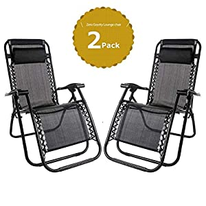 Leisure Zone Set of 2 Heavy Duty Textoline Zero Gravity Chairs Garden Outdoor Patio Sunloungers Folding Reclining Chairs…