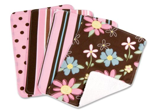 Trend Lab Maya/Blossoms Blooming Bouquet Burp Cloths, Set of 4