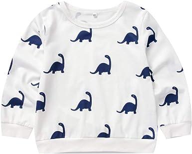 Camisa para niños Bebé Chico Niña Sudadera Estampado de Dinosaurio Suéter de Cuello Redondo Camiseta Casual de Manga Larga: Amazon.es: Ropa y accesorios
