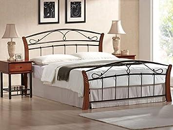 Schlafzimmer Bett Holz Metall 180x200 Cm Doppelbett ATLANTA