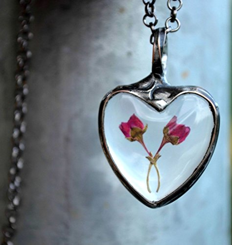 Amazon Christmas Gift for Wife or Girlfriend, Handmade Romantic Heart Necklace, Two Heather Buds, Dry Pressed Flowers Encased in Glass - True Tiffany Love