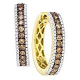 14k Yellow Gold Womens Round Chocolate brown Color Enhanced Diamond Hoop Earrings (1.00 cttw.)