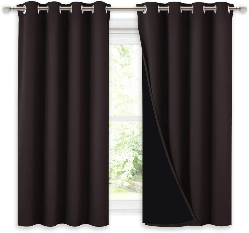 NICETOWN Truly Blackout Curtains 54 inches Length, 2 Thick Layers Completely Blackout Window Treatment Thermal Insulated Lined Drapes for Basement Window (Brown, 1 Pair, 52 inches Width Each Panel)