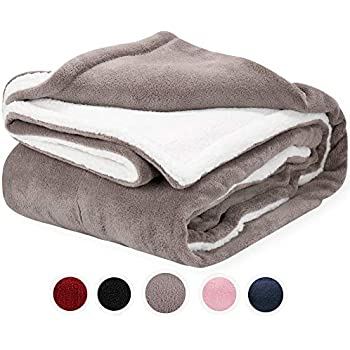 Pembrook Super Soft and Warm Reversible Plush Coral Micro with Sherpa Shearling Lining, (51 X 63 inches)Fleece Blanket, Gray