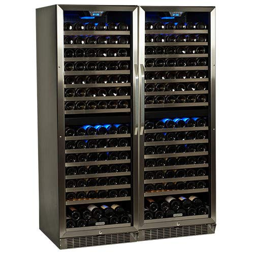 EdgeStar CWR1551DZDUAL 310 Bottle Built-in Side-by-Side Wine Cooler - Stainless Steel/Black ()