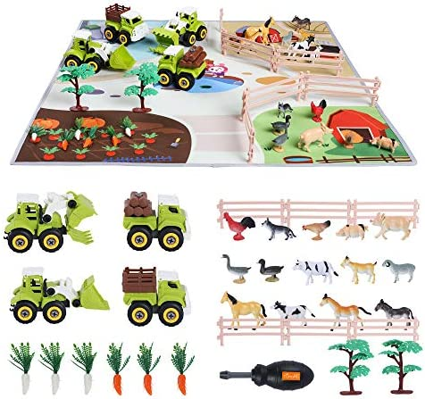 TUMAMA Beach Vehicle Toy Kids Educational Realistic Farmer Life Toy, Car Toy with Activity Play Mat Poultry Vegetables Tree Fence, Construction Vehicles Gifts Sets for Kids , Boys and Girls