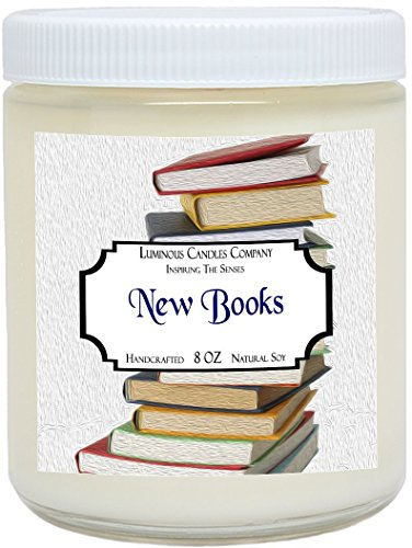 Scented Candle - New Books - 8 oz Natural Soy Literary Gift By Luminous Candles Company