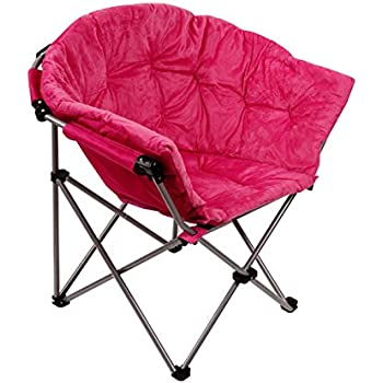 mac at home extra large moon chair with ottoman. folding saucer moon chair short plush faux fur padded club seat adult size (pink) mac at home extra large with ottoman