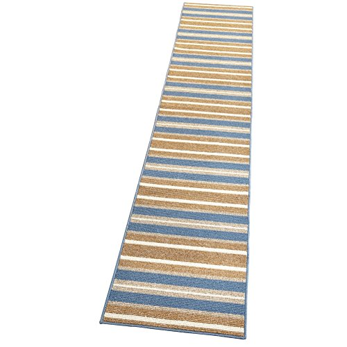 Collections Etc Stripe Berber 10-Ft Long High Traffic Skid-Resistant Floor Runner Rug, Blue, 20 X 120 - Accents Collection Hooked Rug