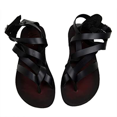 3c0a8303 Casual Summer Beach Leather Ankle Strap Cross-Tied Gladiator Thongs Shoes  Roman T-Strap